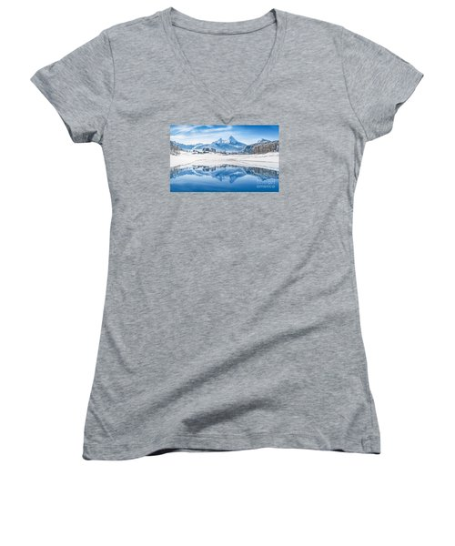 Winter Wonderland In The Alps Women's V-Neck T-Shirt