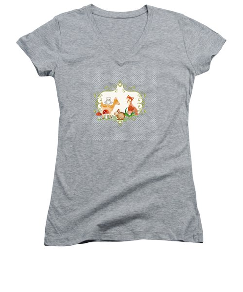 Woodland Fairytale - Animals Deer Owl Fox Bunny N Mushrooms Women's V-Neck (Athletic Fit)