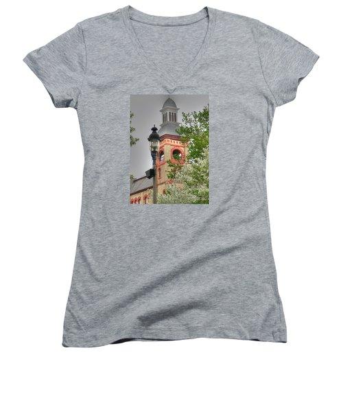 Woodstock Opera House Women's V-Neck T-Shirt (Junior Cut) by David Bearden
