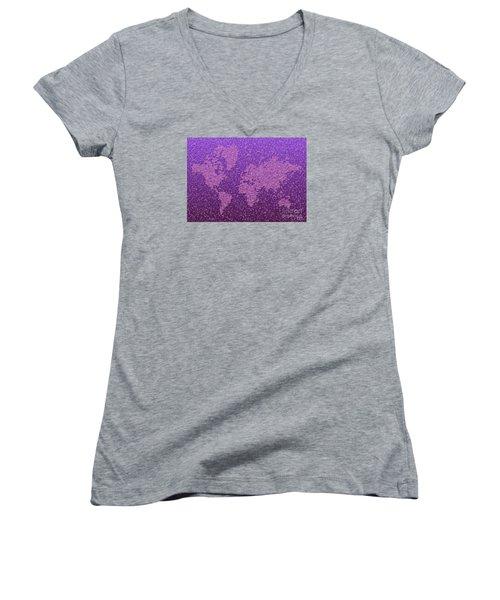 World Map Kotak In Purple Women's V-Neck T-Shirt (Junior Cut) by Eleven Corners