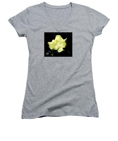 Women's V-Neck T-Shirt (Junior Cut) featuring the digital art Yellow Beauty by Karen Nicholson