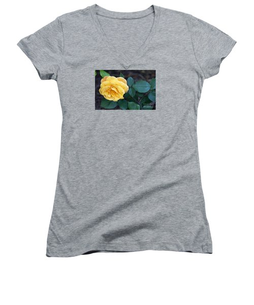 Women's V-Neck T-Shirt (Junior Cut) featuring the painting Yellow Rose by Debra Crank
