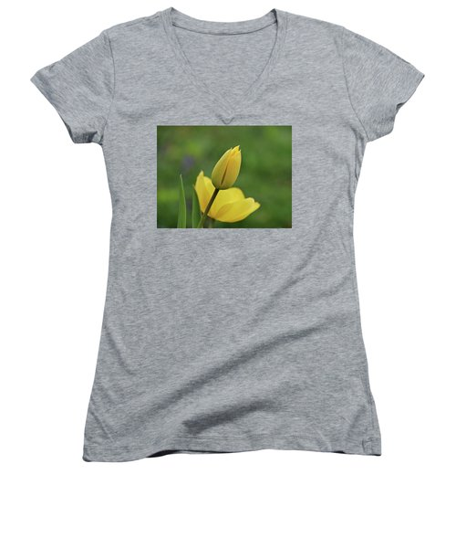 Women's V-Neck T-Shirt (Junior Cut) featuring the photograph Yellow Tulips by Sandy Keeton