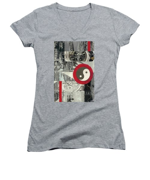 Women's V-Neck T-Shirt (Junior Cut) featuring the mixed media Ying Yang by Desiree Paquette