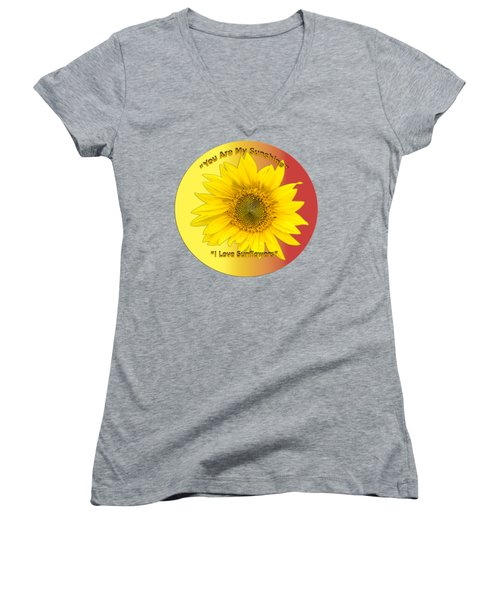 Women's V-Neck T-Shirt (Junior Cut) featuring the photograph You Are My Sunshine by Thomas Young