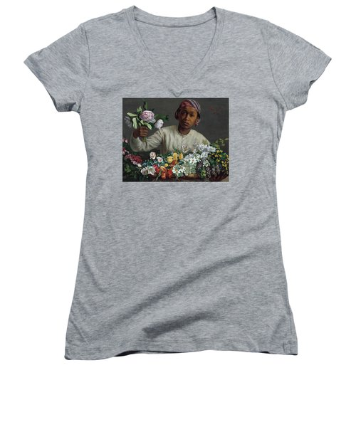 Young Woman With Peonies Women's V-Neck