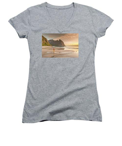 Your Own Beach Women's V-Neck T-Shirt (Junior Cut) by Alex Conu