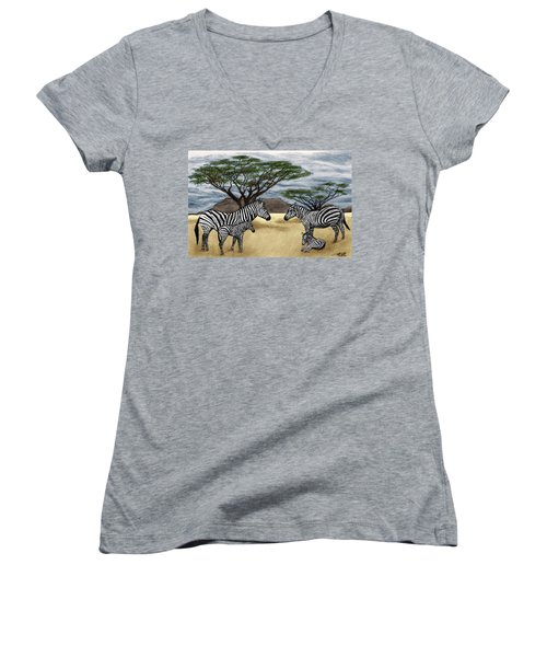 Zebra African Outback  Women's V-Neck (Athletic Fit)