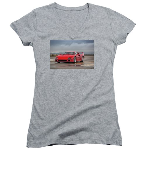 #ferrari #f40 #print Women's V-Neck (Athletic Fit)
