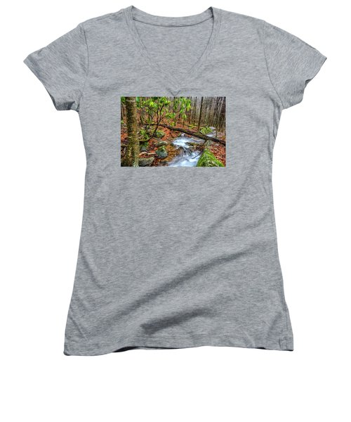 Women's V-Neck T-Shirt (Junior Cut) featuring the photograph Little Laurel Branch by Thomas R Fletcher