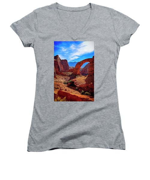 Women's V-Neck (Athletic Fit) featuring the photograph Rainbow Bridge Monument by Peter Lakomy