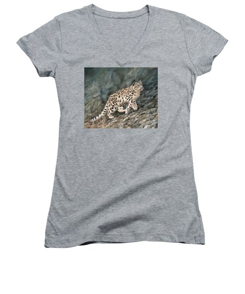 Women's V-Neck T-Shirt (Junior Cut) featuring the painting Snow Leopard by David Stribbling