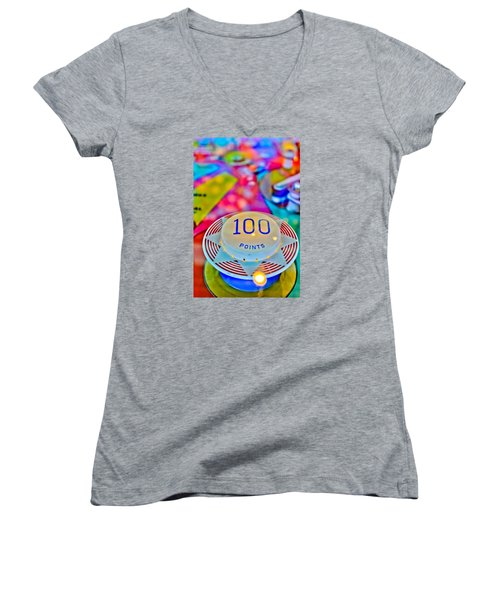 100 Points - Pinball Women's V-Neck T-Shirt
