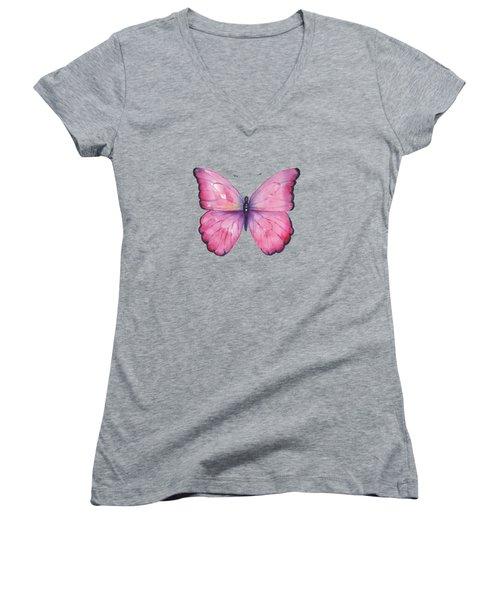 105 Pink Celestina Butterfly Women's V-Neck