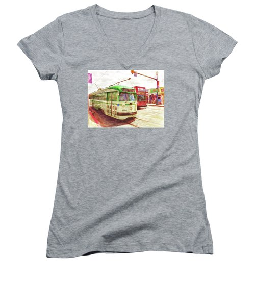 Women's V-Neck T-Shirt (Junior Cut) featuring the painting 1050 by Michael Cleere