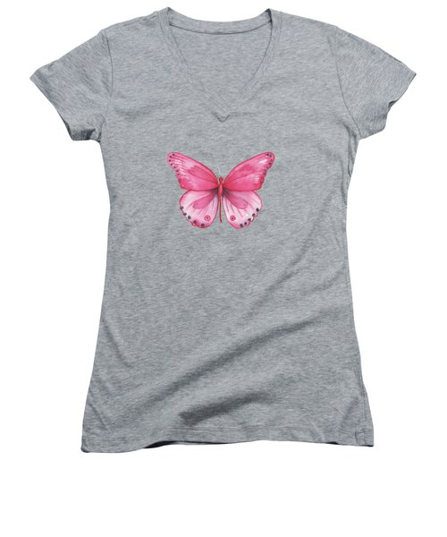107 Pink Genus Butterfly Women's V-Neck