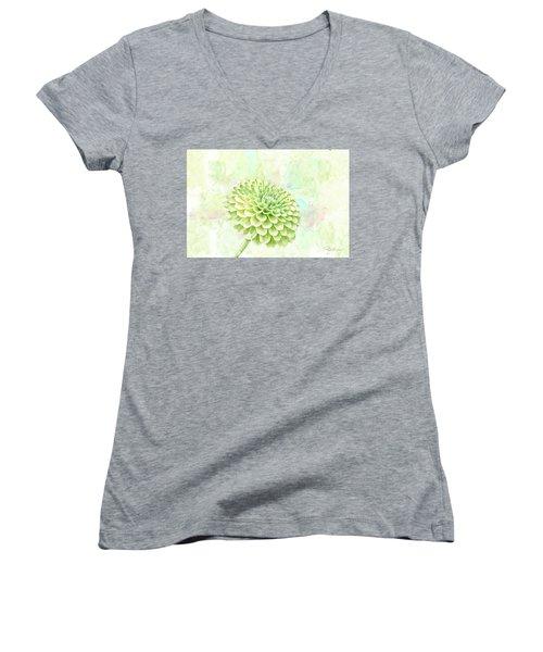 10891 Green Chrysanthemum Women's V-Neck T-Shirt