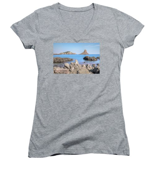 Aci Trezza - Sicily Women's V-Neck T-Shirt (Junior Cut) by Joana Kruse