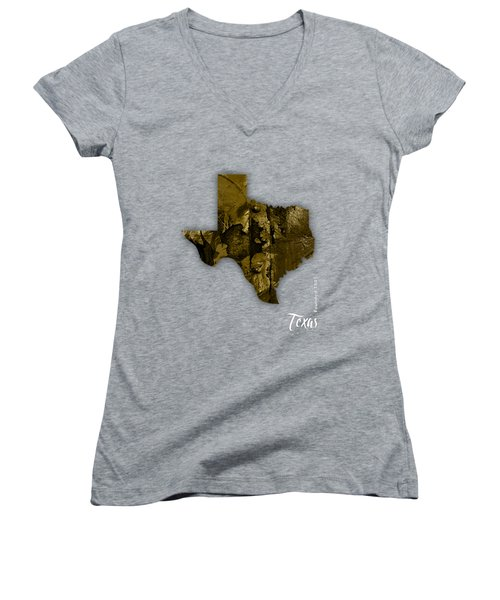 Texas State Map Collection Women's V-Neck T-Shirt (Junior Cut) by Marvin Blaine