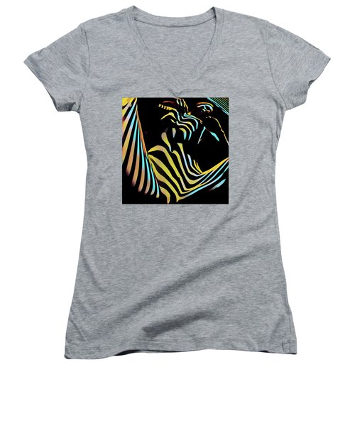 1149s-ak Dramatic Zebra Striped Woman Rendered In Composition Style Women's V-Neck