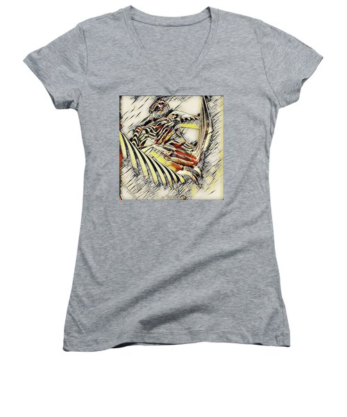 1177s-ak Abstract Nude Her Fingers On Pubis Erotica In The Style Of Kandinsky Women's V-Neck T-Shirt