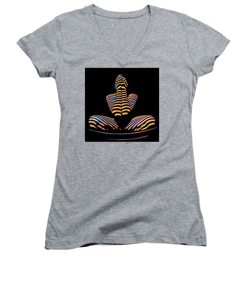 1183s-mak Hands Over Face Zebra Striped Woman Rendered In Composition Style Women's V-Neck