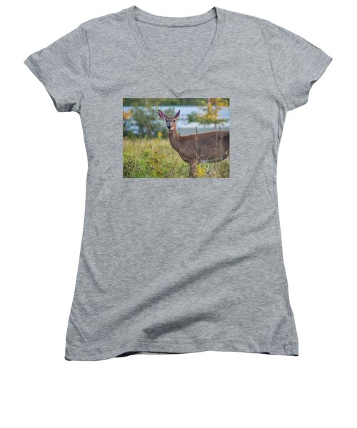 Women's V-Neck T-Shirt (Junior Cut) featuring the photograph Down East Maine  by Trace Kittrell