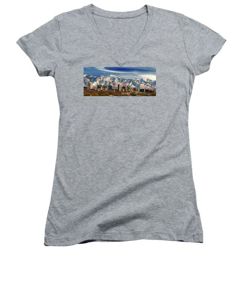Salt Lake City Skyline Women's V-Neck (Athletic Fit)