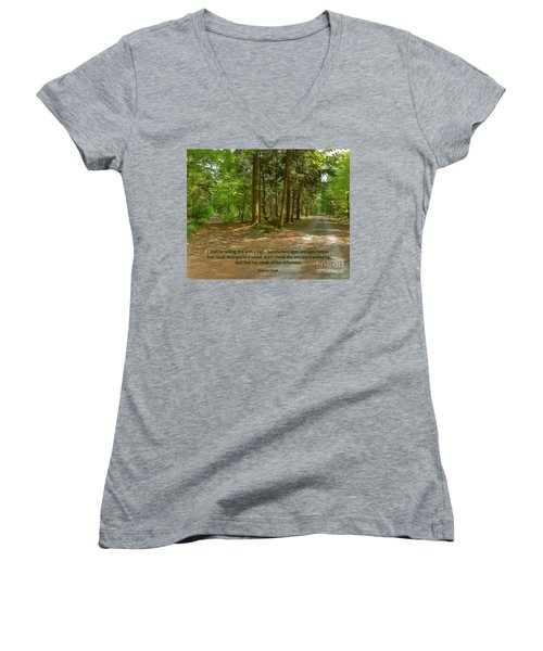 12- The Road Not Taken Women's V-Neck T-Shirt (Junior Cut) by Joseph Keane