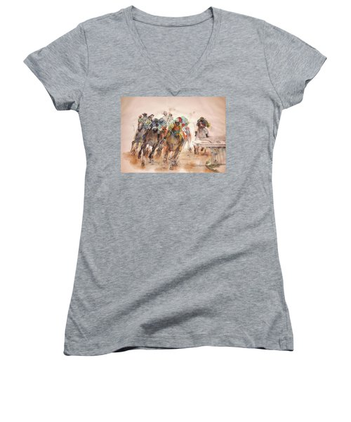 Women's V-Neck T-Shirt (Junior Cut) featuring the painting American  Pharaoh  Album  by Debbi Saccomanno Chan