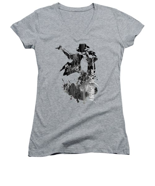 Michael Jackson Collection Women's V-Neck T-Shirt (Junior Cut) by Marvin Blaine
