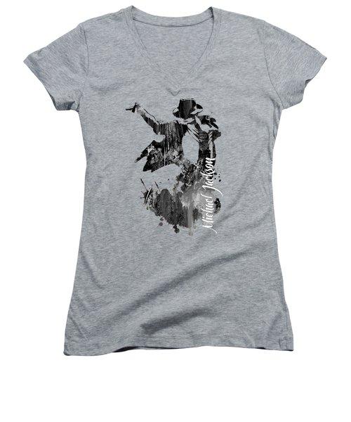Michael Jackson Collection Women's V-Neck T-Shirt (Junior Cut)