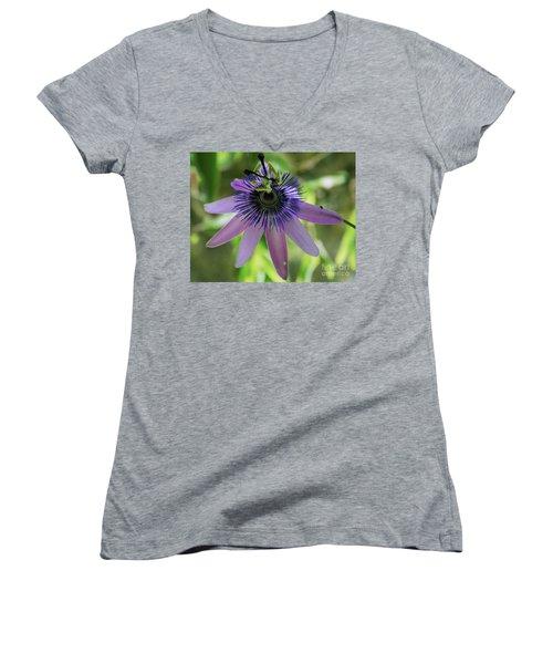 Purple Passiflora Women's V-Neck T-Shirt (Junior Cut) by Elvira Ladocki