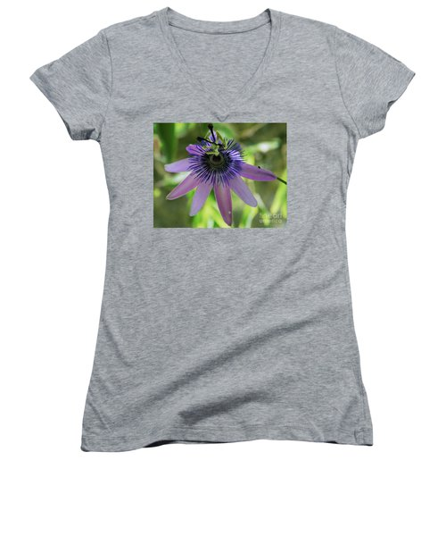 Purple Passiflora Women's V-Neck T-Shirt