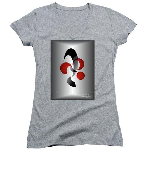Women's V-Neck T-Shirt (Junior Cut) featuring the digital art 1313-2017 by John Krakora