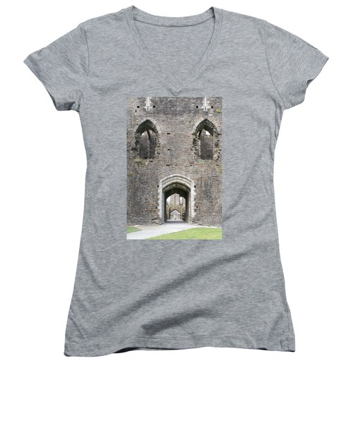 Caerphilly Castle Women's V-Neck T-Shirt