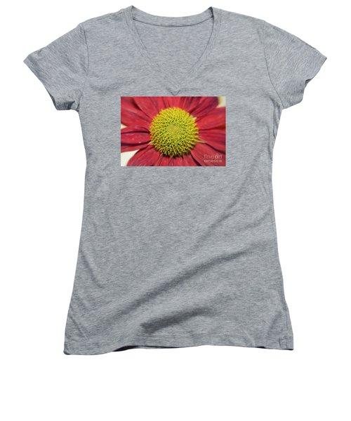Red Flower Women's V-Neck T-Shirt (Junior Cut) by Elvira Ladocki