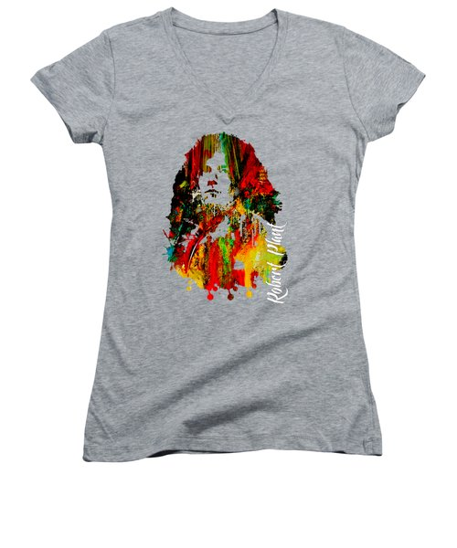 Robert Plant Collection Women's V-Neck T-Shirt (Junior Cut) by Marvin Blaine