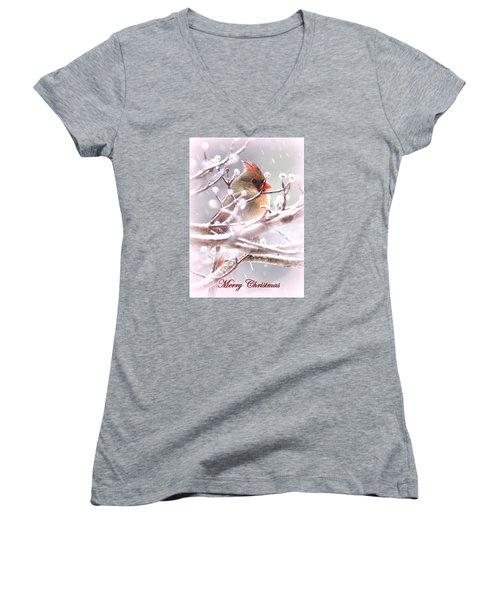 1554-003 Cardinal Women's V-Neck T-Shirt (Junior Cut) by Travis Truelove