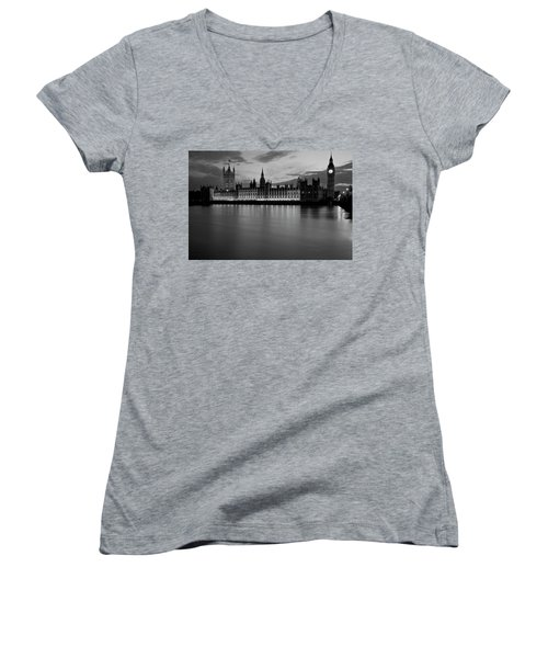 Big Ben And The Houses Of Parliament Women's V-Neck T-Shirt (Junior Cut) by David French