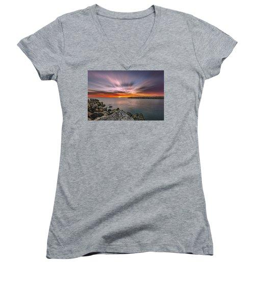 Sunst Over The Ocean Women's V-Neck