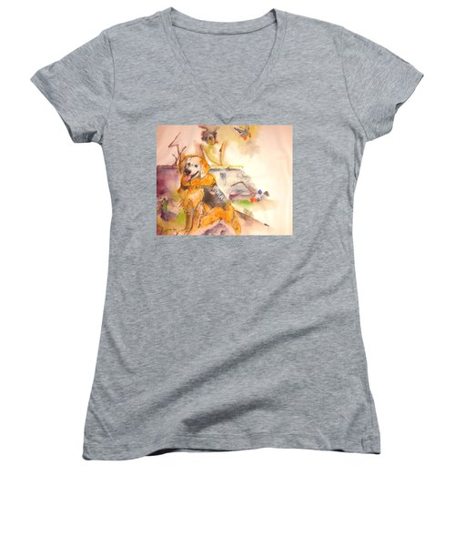 Women's V-Neck T-Shirt (Junior Cut) featuring the painting Dogs  Dogs  Dogs  Album  by Debbi Saccomanno Chan