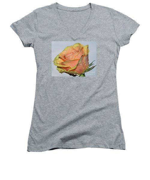 Women's V-Neck T-Shirt (Junior Cut) featuring the photograph Rose by Elvira Ladocki