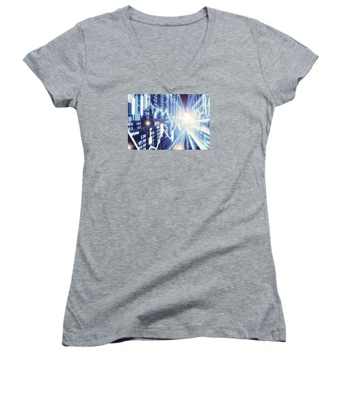Women's V-Neck T-Shirt (Junior Cut) featuring the photograph Stock Market Concept by Setsiri Silapasuwanchai