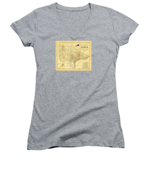 1849 Texas Map Women's V-Neck