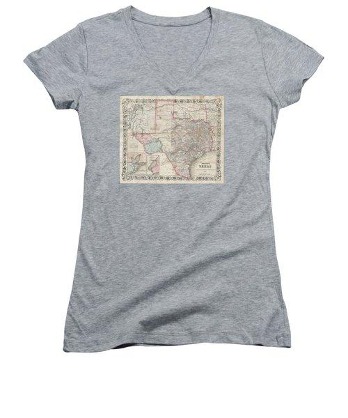 1870 Colton Pocket Map Of Texas Women's V-Neck T-Shirt