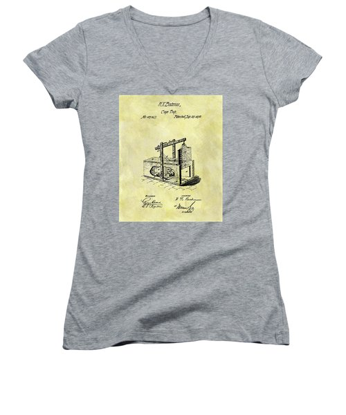 Women's V-Neck T-Shirt (Junior Cut) featuring the mixed media 1870 Mousetrap Patent by Dan Sproul