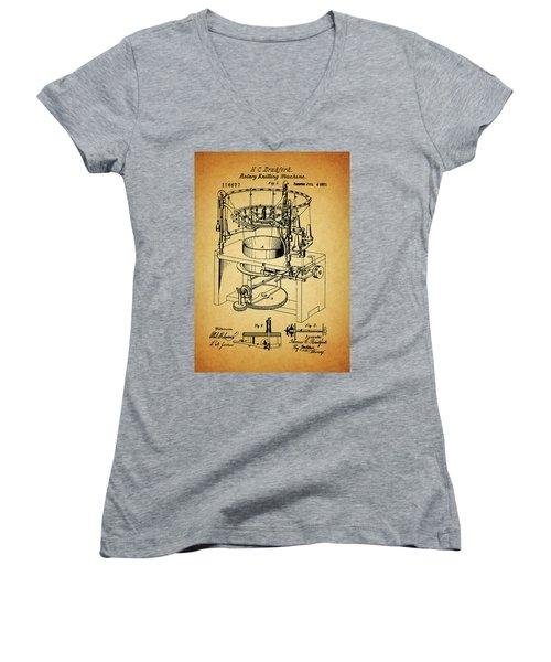 1871 Rotary Knitting Machine Women's V-Neck T-Shirt (Junior Cut) by Dan Sproul