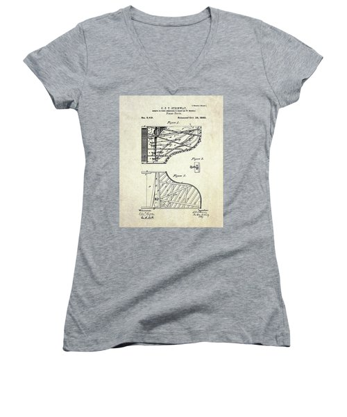1880 Steinway Piano Forte Patent Art Sheet 1  Women's V-Neck T-Shirt (Junior Cut) by Gary Bodnar