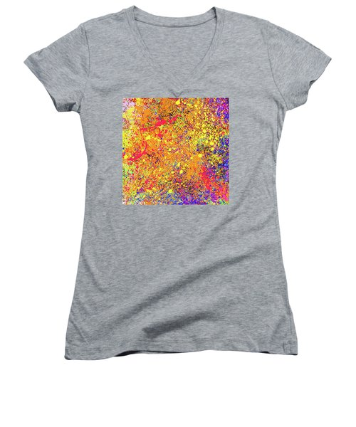 Women's V-Neck T-Shirt (Junior Cut) featuring the painting Abstract Composition by Samiran Sarkar
